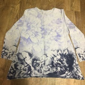 J.  Jill Women's Washed Floral Tunic Top Size LP